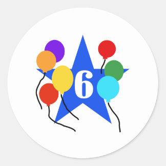 Usted es el 6to cumpleaños de la estrella pegatina redonda