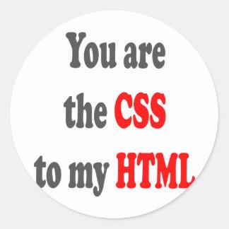 Usted es el CSS a mi HTML Pegatina Redonda