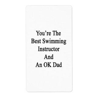 Usted es el mejor instructor de la natación y un etiquetas de envío