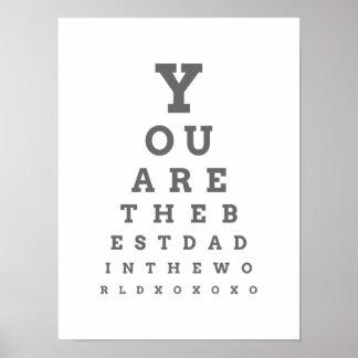 Usted es el mejor papá de la carta de ojo del póster