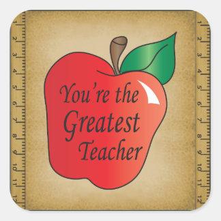 Usted es el profesor más grande pegatina cuadrada