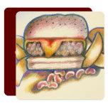"usted es el queso a mi tarjeta de la hamburguesa invitación 5.25"" x 5.25"""