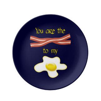 Usted es el tocino a mi huevo plato de cerámica