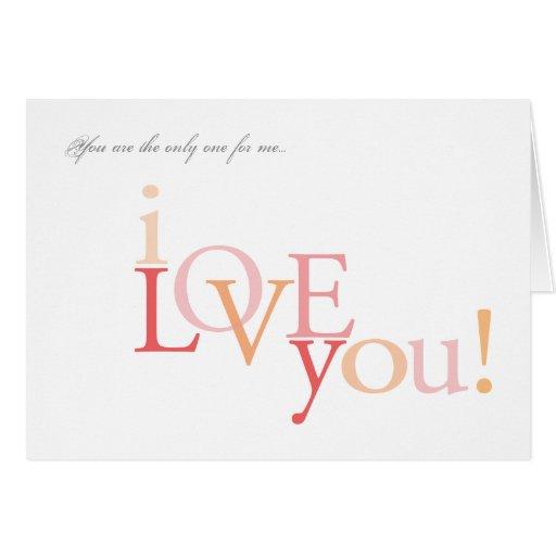 Usted es el único para mí tarjeta del | te amo