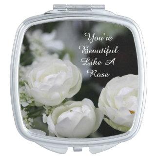 Usted es espejo hermoso del acuerdo del rosa espejos compactos