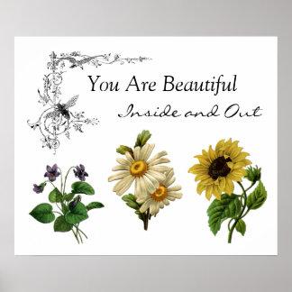 Usted es flores inspiradas hermosas de la cita póster