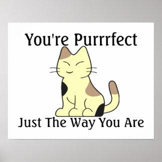 Usted es gato del gatito de Purrrfect Póster