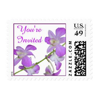 Usted es invitación invitada de la orquídea estampilla