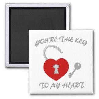 Usted es la llave a mi corazón imán cuadrado