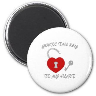 Usted es la llave a mi corazón imán redondo 5 cm