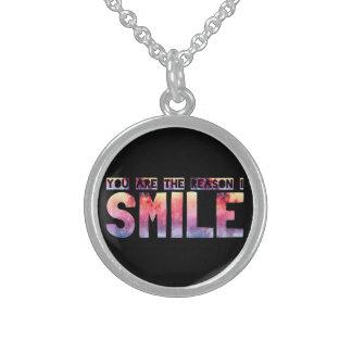 Usted es la razón que sonrío collares de plata esterlina