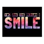 Usted es la razón que sonrío tarjeta postal
