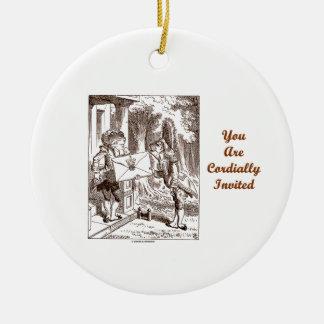 Usted es lacayos cordialmente invitados de los adorno redondo de cerámica
