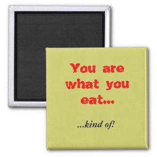 ¡Usted es lo que usted come…,… clase de! Imán Cuadrado