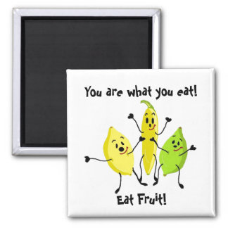 Usted es lo que usted come imán cuadrado