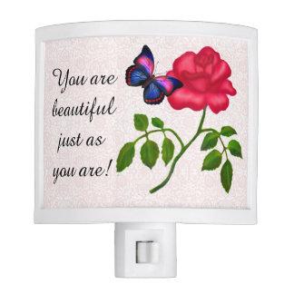 Usted es luz subió mariposa hermosa de la noche