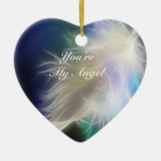 ¡Usted es mi ángel! Adorno Navideño De Cerámica En Forma De Corazón