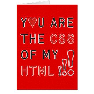 Usted es mi CSS - encienda la salpicadura roja Tarjeta De Felicitación