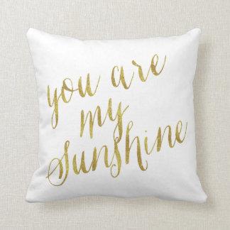 Usted es mi hoja de oro de la cita de la sol falsa cojín