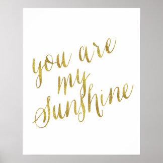 Usted es mi hoja de oro de la cita de la sol falsa póster