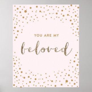 Usted es mi querido - rosa, oro, cuarto de niños poster
