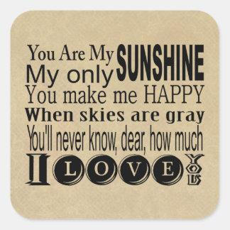 Usted es mi ropa y regalos de la sol pegatinas cuadradas personalizadas