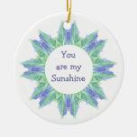 """¡""""Usted es mi sol! """"Acuarela de la cita del amor Ornamento De Navidad"""