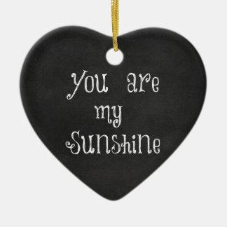 Usted es mi sol adorno navideño de cerámica en forma de corazón