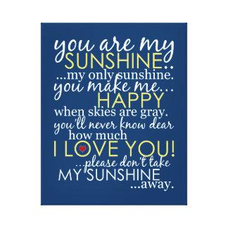 Usted es mi sol - azul - lona envuelta impresión en lienzo