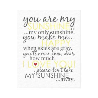 Usted es mi sol - blanco - lona envuelta impresión en lienzo estirada