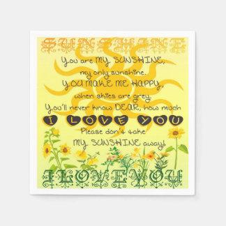 Usted es mi sol con las flores en amarillo servilletas de papel