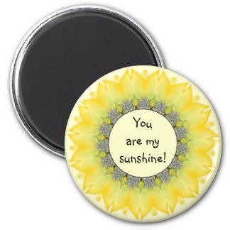 Usted es mi sol, estímulo del girasol imán redondo 5 cm