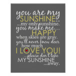 Usted es mi sol - gris - poster