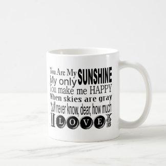 Usted es mi sol mi solamente sol taza básica blanca