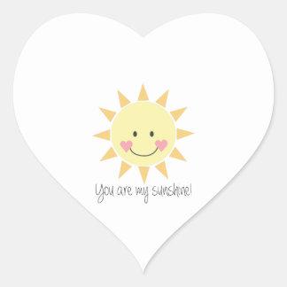 ¡Usted es mi sol! Pegatina En Forma De Corazón