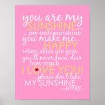 Usted es mi sol - rosa - poster