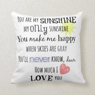 Usted es mi tipografía del arte de la palabra de almohada