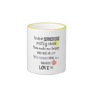 Usted es mi tipografía del arte de la palabra de tazas de café