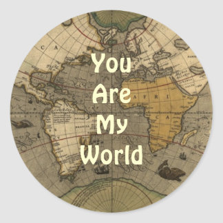 Usted es mis pegatinas románticos del mapa del pegatina redonda