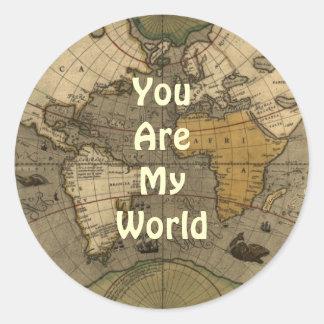 Usted es mis pegatinas románticos del mapa del mun