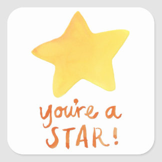 Usted es pegatinas de un cuadrado de la estrella colcomanias cuadradas personalizadas