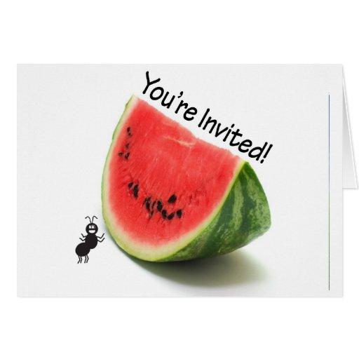 Usted es sandía y hormiga invitadas tarjeta