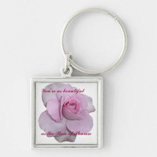 Usted es tan hermoso como el rosa de Sharon Llavero Cuadrado Plateado