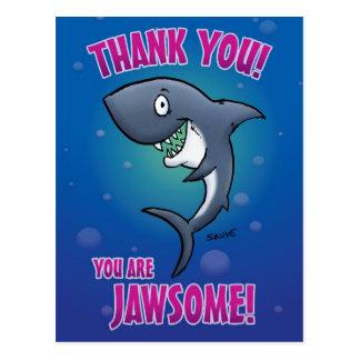 Usted es tiburón de Jawsome le agradece postal