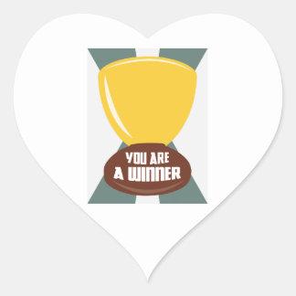 Usted es un ganador pegatina en forma de corazón