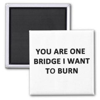 Usted es un puente que quiero quemar imán cuadrado