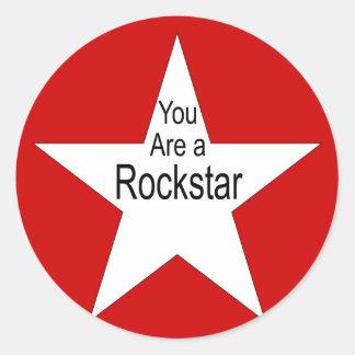 Usted es un Rockstar Pegatina Redonda