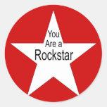 Usted es un Rockstar Pegatinas Redondas