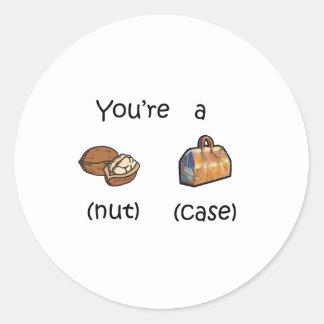 Usted es una caja de nuez etiquetas redondas