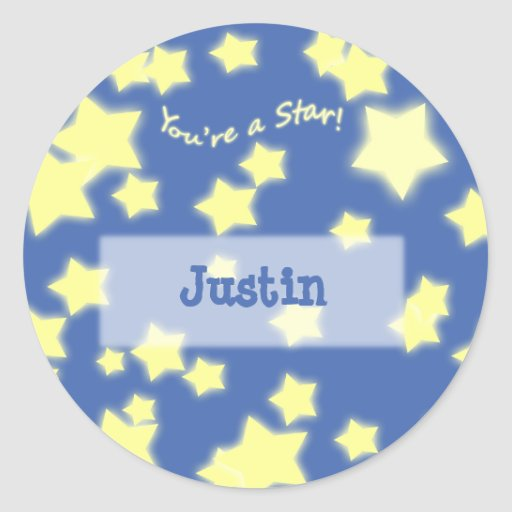 ¡Usted es una estrella! Pegatina amarillo/azul